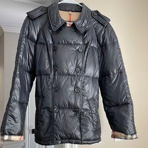 Navy Burberry Puffer Coat